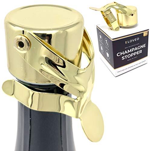 Kloveo - Tapones de champán con sellado patentado (no necesita bomba de presión), fabricados en Italia, grado profesional WAF, ideales para Prosecco, cava y tapón de vino espumoso