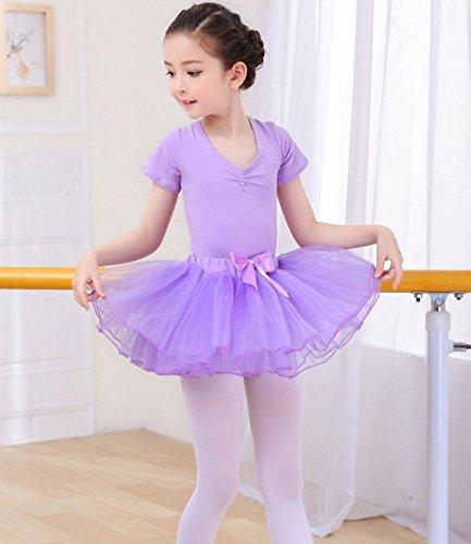 HUOFEINIAO-Tanzkleidung Kindertanzkostüme Übungskleidung für Mädchen Herbst- und Sommerkostüme Langärmeliger Kinder Tutus aus Baumwolle, 140cm, Purple