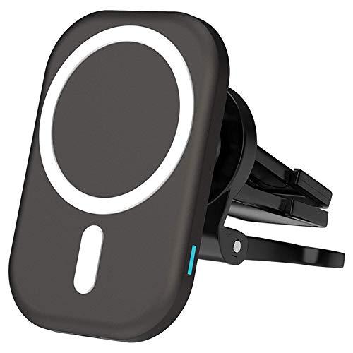 Adecuado para iphone 12 12Pro Max Cargador inalámbrico de navegación GPS para automóvil, soporte para teléfono móvil con ventilación con clip, soporte para teléfono móvil Magsafe, rotación de 360 °