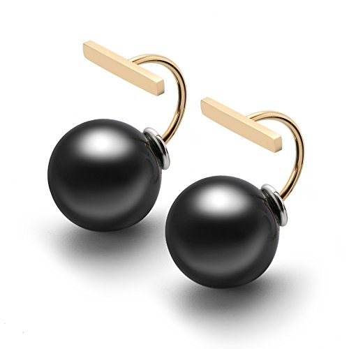 AiryAi Artistic Stud Jacket Earrings with Black Pearls Gold Plated Stainless Steel for Women & Girls Daily Jewelry