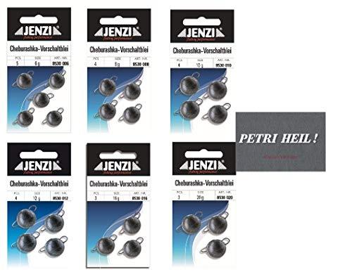 .Jenzi Cheburashka Set, 6 Packungen 6,8,10,12,16 und 20 Gramm+ gratis Petri Heil! Aufkleber