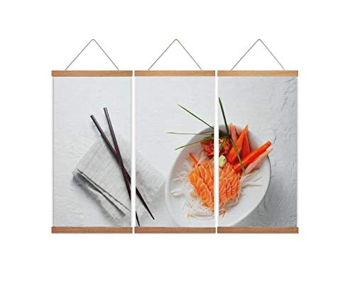 A37mieeooopa - Hanging Posters with Wood Frames Salmon Sashimi and Imitation Crab Stick in Japanese Style with Kimchi Wall Art Canvas Artwork for Home Decoration Ready to Hang 24