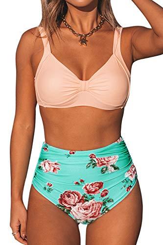CUPSHE Damen Bikini Set Herzausschnitt Breite Träger High Waist Bademode Zweiteiliger Badeanzug Rosa/Mintgrün XXL