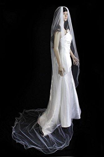 Bridal Veil Diamond (Off) White 1 Tier Cathedral Length With Nylon Pencil Edge