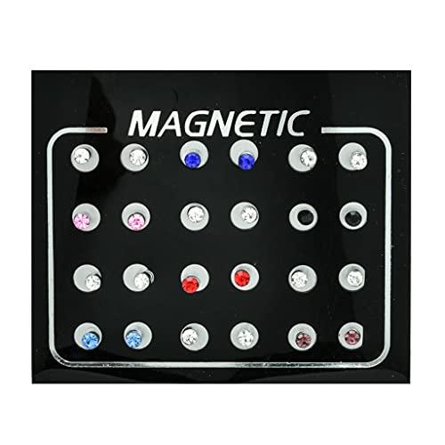 ZHINTE Earrings 12 Pares de Pendientes magnéticos de Diamantes de imitación no Perforados, Pendientes de Clip, joyería