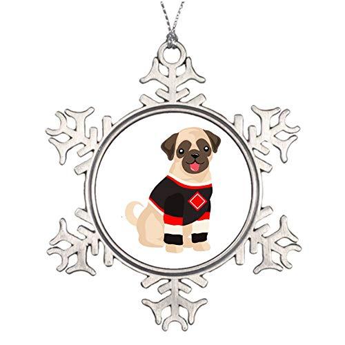 qidushop Weihnachtsschmuck, Weihnachtsbaumschmuck, Mops in Hockey-Jersey, Schneeflocke, Ornament, Basteln, Weihnachtsdekoration