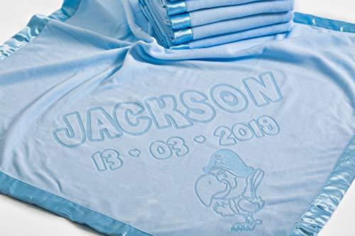 Zachte baby deken voor kinderwagen met naam en piraat papegaai motief, 88x88CM,Roze Double Line Text Blauw