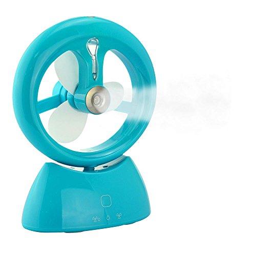 Welltop ventilatore da tavolo 3 modalità Portable Desktop umidificatore Ventilatore portatile ventilatore dello spruzzo ricaricabile di raffreddamento ventilatore di nebbia Personal Cooling umidificatore nebbia ventilatore con Button Touch - Blu