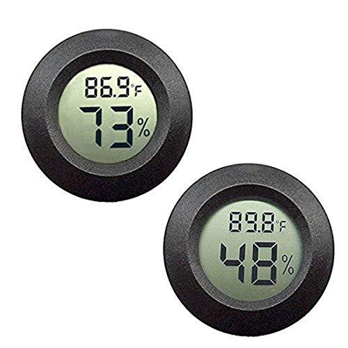 ZHITING Mini termometro digitale, monitor LCD Misuratore di umidità per interni esterni per umidificatori Deumidificatori Serra Seminterrato Babyroom Fahrenheit o Celsius (Black-2 PCS)