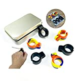 Cigarette Holder, 6pcs Hands Free Cigarette Finger Holder Ring to Protect Finger Turn Yellow for Console Gamers and All Smokers,Metal Box Packaging