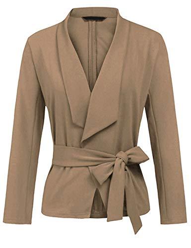 XIOUOUSD Frauen Blazer Mantel Langarm Kerb Hals Gürtel Tunika Mantel Anzug Büro Dame Casual Work Outwear Anzüge Apricot XXXL