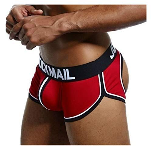 JOCKMAIL Sexy Herren Boxershorts Jockstrap Männer Sexy Unterwäsche Rückenfreies Gesäß Herren Strings Schwule Unterwäsche (XL, Rot)