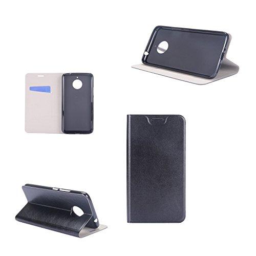 Digital Bay Cover Lenovo Moto E4 Plus Cover Custodia [Flessibile Portafoglio Cover] Flip Case [Ecopelle] Comodo Portafoglio Case con Stand, Jet Nero