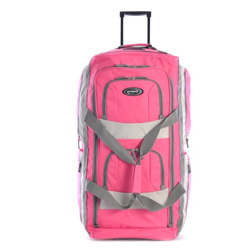 Olympia 8 Pocket Rolling Duffel Bag, Hot Pink