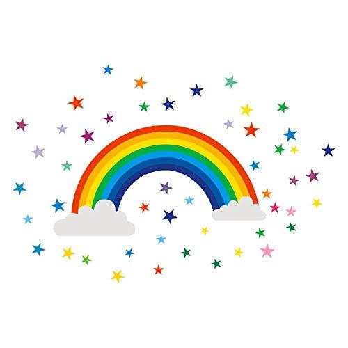 Adhesivo decorativo de vinilo para habitación infantil, diseño de arco iris