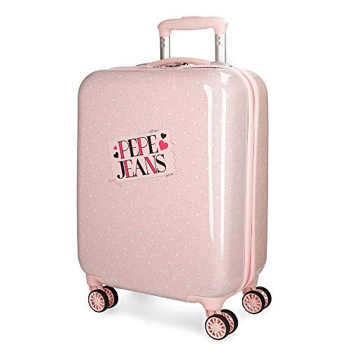 Maleta cabina Pepe Jeans Olaia rosa rígida 55cm