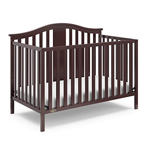 Graco Solano 4-in-1 Convertible Crib, Easily Converts to Toddler Bed Day Bed or Full Bed, Three Position Adjustable Height Mattress, Assembly Required (Mattress Not Included), Espresso