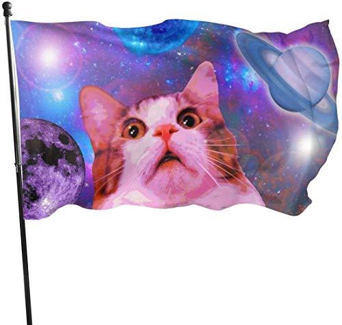 YRTGF Gartenflagge Kitty Katze im Weltraum Außenbanner 3x5 Fuß US Polyester Flagge UV Fade Resistant dekorative Zäune/Garten/Patio/Rasen