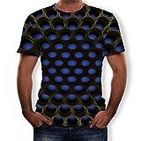 NIUQI Men's Summer 3D Printed Short Sleeves Fashion Comfort Blouse Top Blue
