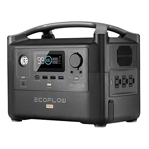 EF ECOFLOW RIVER Pro Portable Power Station 720Wh, Power Multiple Devices, Recharge 0-80% Within 1 Hour, for Camping, RV, Outdoors, Off-Grid