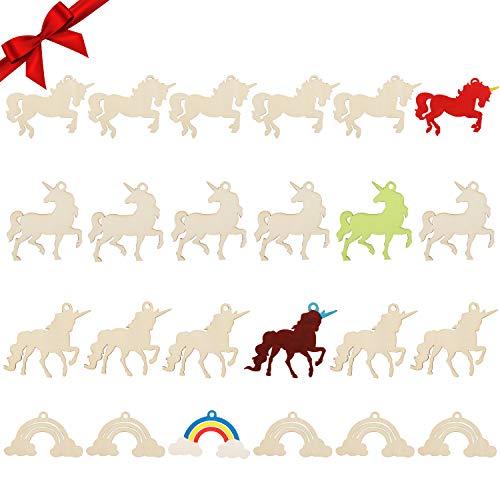 Recortes de Madera Unicornios y Arcoíris (Pack de 24) - Reb
