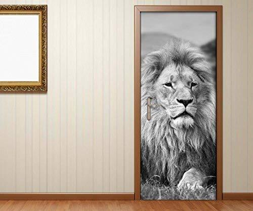 Türaufkleber schwarz weiss Löwe Mähne Afrika Tier stolz Tür Bild Türposter Türfolie Druck Aufkleber 15A2532, Türgrösse:90cmx200cm