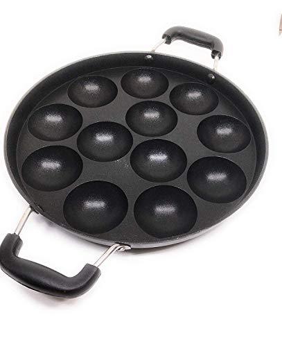 G&D 12 Pit Appam Maker Edelstahl Deckel Paniyaram Pfanne Appam Patra Paniyarakkal Tawa Antihaft Appam Backblech Takoyaki Pfanne Aebleskiver/Ebelskiver Pfanne