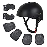 Kids Bike Helmet for Ages 2-14, Adjustable Safety Toddler Helmet with Protective Gear Set, Skateboard Scooter Helmets with Knee Elbow Pads Wrist Guards for Boys Girls (Black, Medium (for Ages 8-14))