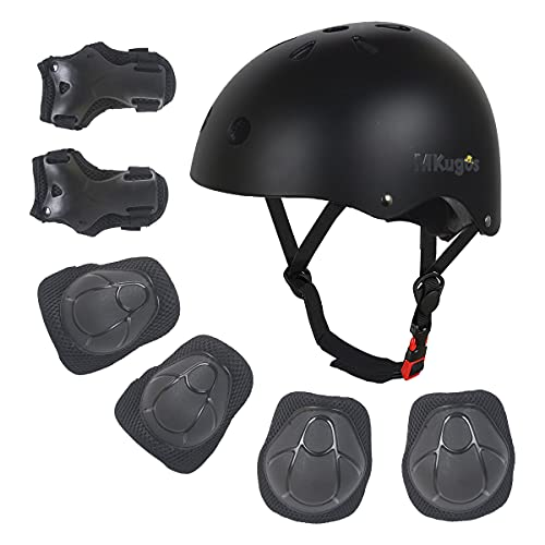 Kids Bike Helmet for Ages 2-14, Adjustable Safety Toddler Helmet with Protective Gear Set, Skateboard Scooter Helmets with Knee Elbow Pads Wrist Guards for Boys Girls (Black, Small (for Ages 2-8))