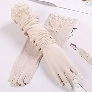 SHENTIANWEI Women's UPF50+ Long Lace Sleeve Ice Wire Arm Set Half Finger Driving Anti-skid Sun Visor (Color : Beige, Size : One size-Five pairs)