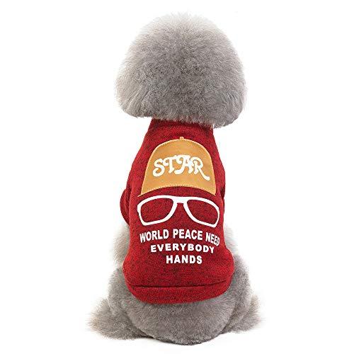 ZED- Hond Jas Jas Huisdier warme trui herfst en winter hond kleding bril hoed trui, geschikt voor Teddy kleine honden, S, Rood