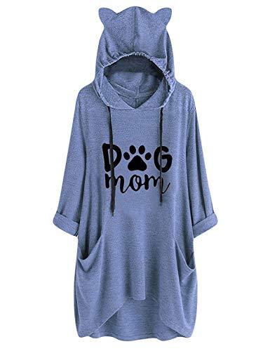 YUHX Dog Mom Hoodies Damen Oberteil Lange Tops Grafik Kapuzenpullover Katzenohr Sweatshirt Tunika Bluse mit Taschen