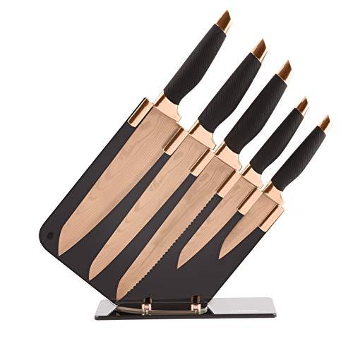 Tower T81532RD Küchenmesser Set mit Acryl Messerblock Damastoptik Edelstahlklingen Rosegold Schwarz 5-teilig