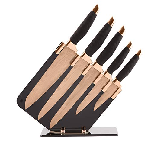 Tower T81532RD Kitchen Knife Set with Acrylic Knife Block, Damascus Effect, Stainless Steel Blades, Rose Gold and Black, 5 Pieces