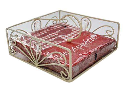 Serviettenhalter, Landhausstil, cremefarbig, antik, 18x18 cm ,1812-8380700