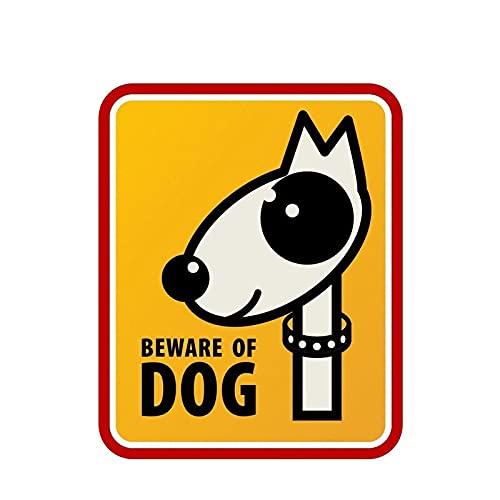 WYZJ-Pegatinas de moda Señales de advertencia Cuidado con las etiquetas engomadas del automóvil de perros PVC Impermeable a prueba de sol y calcomanías de accesorios de protección solar 12.1cm x 14.9c