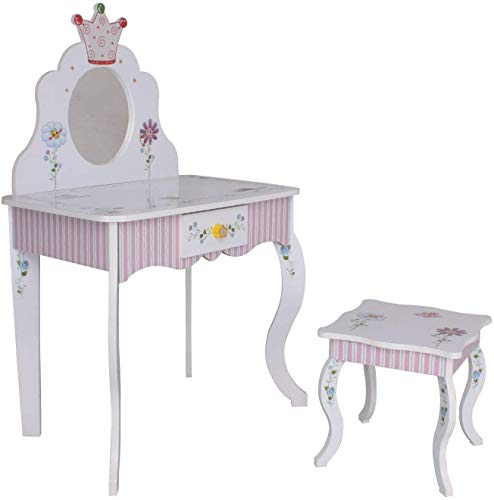habeig Schminktisch #988 Kinder Frisiertisch Tisch Prinzessin rosa Weiss Sitzgruppe Hocker