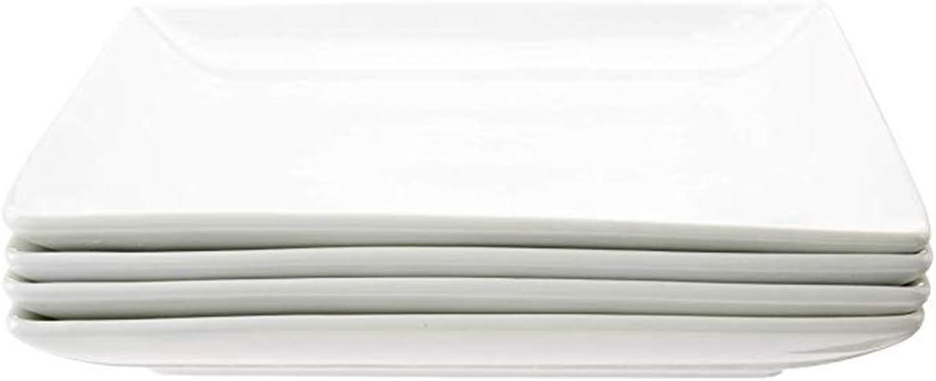Danxia Porcelain Max 53% OFF Dinner Plates Square Piece 10 shop White Inch 4