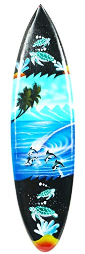 Tabla de surf en miniatura, 30 cm. Tallado a mano en madera de albesia. Con gran detalle. Barniz para aerógrafo con soporte de madera.