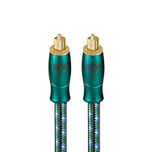 SKW Optisches Digital-Audiokabel, Heimkino-Glasfaser-Toslink-Stecker auf Stecker, vergoldetes Optisches Kabel (S/PDIF)(1.5M, Grün)