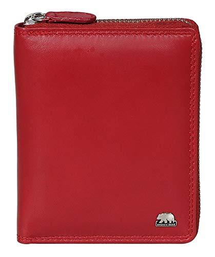 Brown Bear Geldbörse Reißverschluss Leder Rot Herren Damen RFID Schutz Hochformat hochwertig Doppelnaht Portemonnaie Männer Geldbeutel Frauen Portmonee Ledergeldbeutel Ledergeldbörse BB 8009 CRD