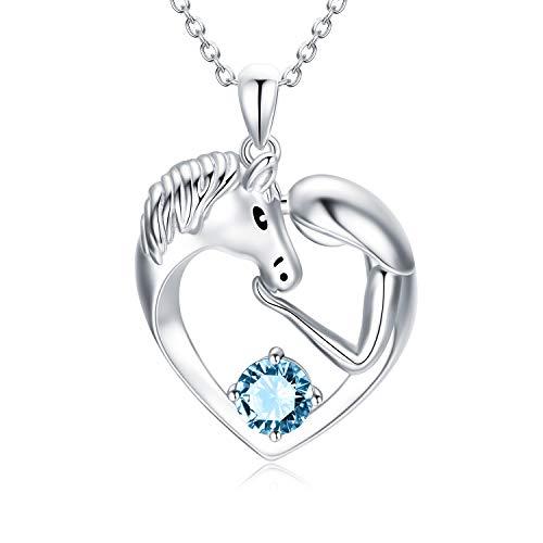 Pferde Kette Sterling Silber Damen Herz Anhänger Halskette mit Kristallen, Pferde Schmuck Geburtstagsgeschenk für Mädchen Frauen (Simulierter Aquamarin)