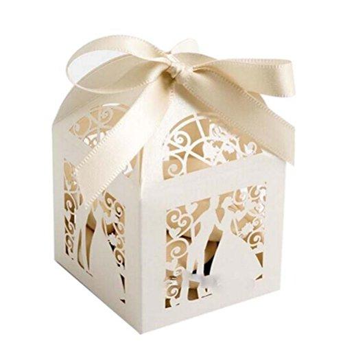 Pixnor 100pcs Boites de mariage bonbons bonbons coffrets cadeaux faveur - Couple Design (blanc crème)