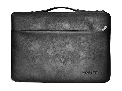 Women Briefcase Laptop Bag Sleeve Protective Case Cover with Pocket Water Resistant Shockproof Multifunctional Carrying Bag for All Laptops, Notebooks, Ultrabooks, Netbooks. (Black PU)