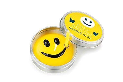 Donkey Products Kerze in Metalldose Candle To Go Keep Smiling, Kerzen, inkl. 1 Mini-Kerze, Ø 6.5 cm, 220456