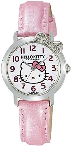 [シチズン Q&Q] 腕時計 アナログ ハローキティ 防水 革ベルト 日本製 0001N001 レディース ホワイト × ピンク