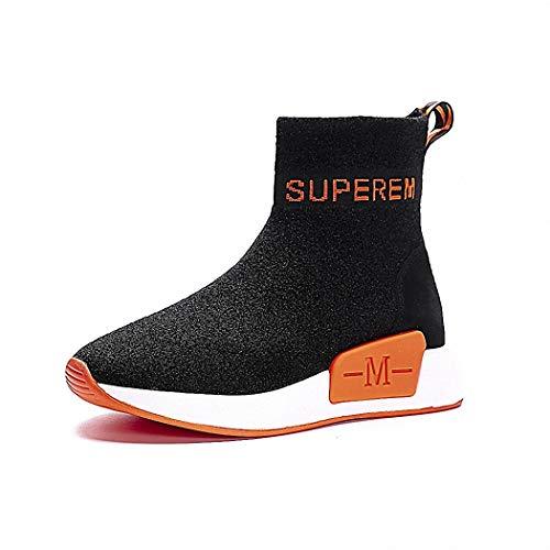 Lucdespo Ladies Casual Shoes Flying Mesh Chaussures de Sport Bas épais Tous en Style Chaussettes Chaussures Short Elastic Boots Super Comfort.Orange, 37