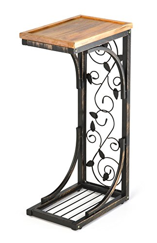 Trademark Innovations 2' Side Sofa Snack Table with Acacia Wood Top and Vine Motif