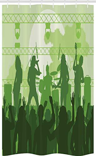 ABAKUHAUS Muziek Douchegordijn, Band die in het werkgebied, voor Douchecabine Stoffen Badkamer Decoratie Set met Ophangringen, 120 x 180 cm, Green Dark Green Green