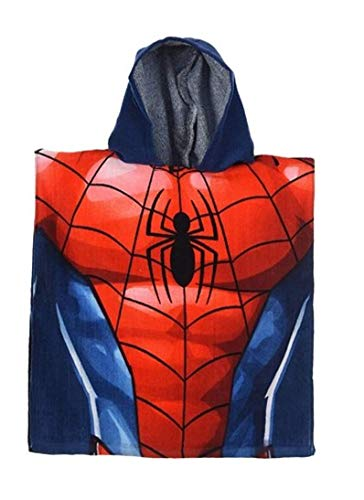 Badetuch Bademantel Kapuzen Poncho für Kinder Baumwolle – wählbar: Super Wings Cars Avengers Mickey Paw Patrol Spiderman Ninja Superman Peppa – Geschenk für Jungen (Spiderman 03)